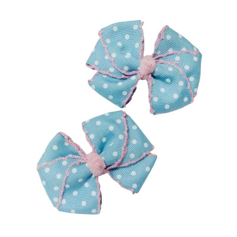 Mauveine Clip Triple Bow Baby Blue White Polka Dots (pair)