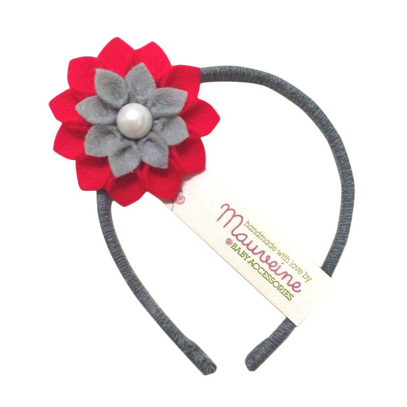Mauveine Headband Small Hibiscus Multicolor Red Grey