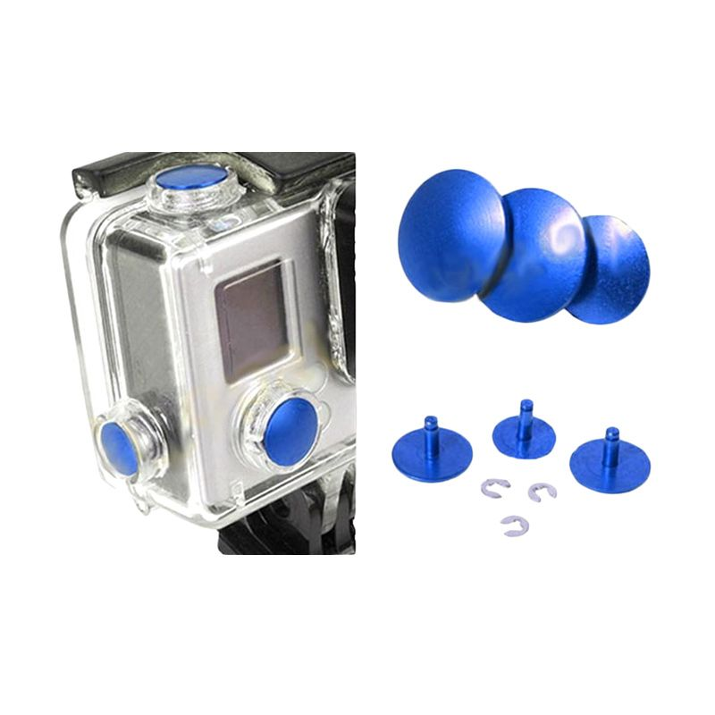 Third Party GoPro Aluminium Button Blue Aksesoris Kamera