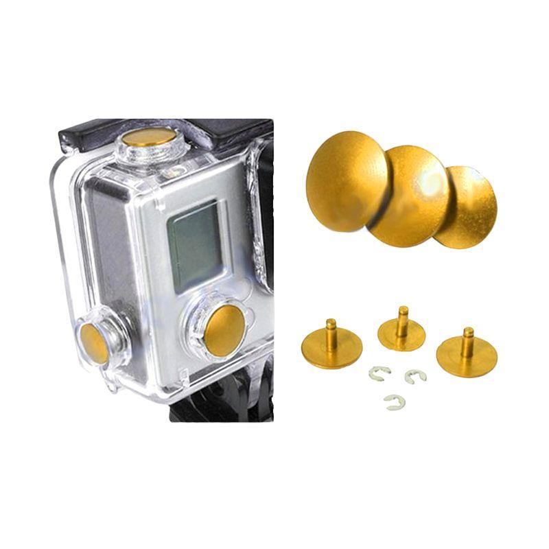 Third Party GoPro Aluminium Button Gold Aksesoris Kamera
