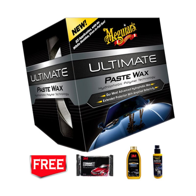 PROMO BUY 1 [ Meguiars Ultimate Paste Wax ] Pelindung Cat GET 3 FREE [3M Gold Car Wash & Smart Sponge & Getf1 Auto UV Protectant