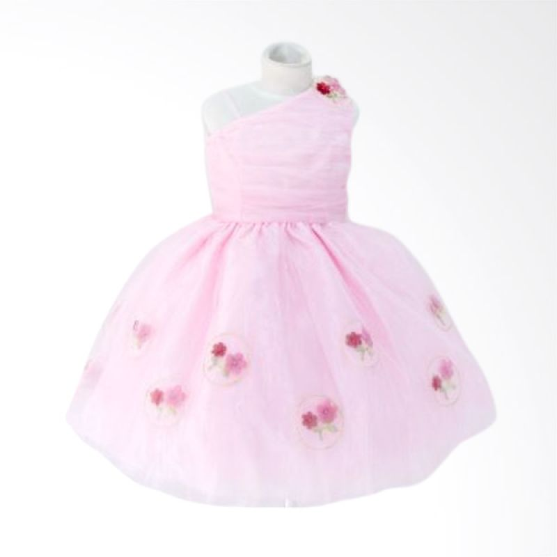 Megumi House Off Shoulder Flowers Pink Dress Anak