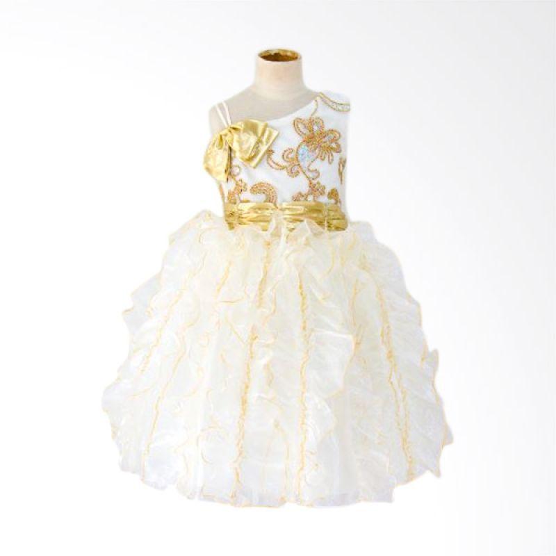 Megumi House Off Shoulder Gold Cream Dress Anak