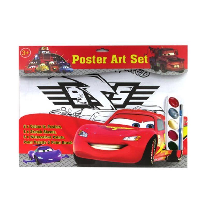 MeilynGiftShop Cars Merah Poster Art Set Alat Mewarnai