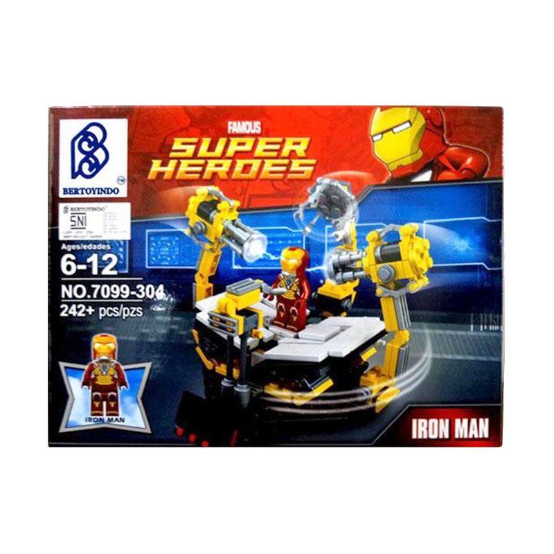 Bertoyindo Famous Super Heroes 7099-304 Iron Man Suit Up Gantry Mainan Blok & Puzzle