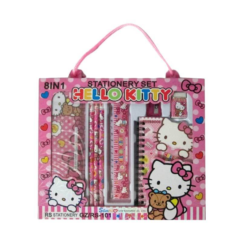 MeilynGiftShop Hello Kitty 8 in 1 RS 101 Pink Stationery Set Alat Tulis