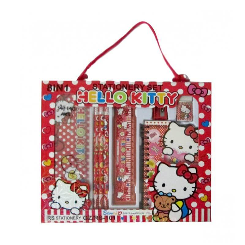 MeilynGiftShop Hello Kitty 8 in 1 RS 101 Red Stationery Set Alat Tulis