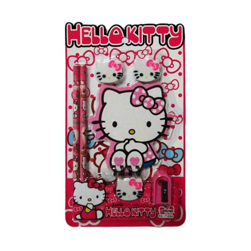 MeilynGiftShop Hello Kitty RS 7188 Pink Stationery Set Alat Tulis