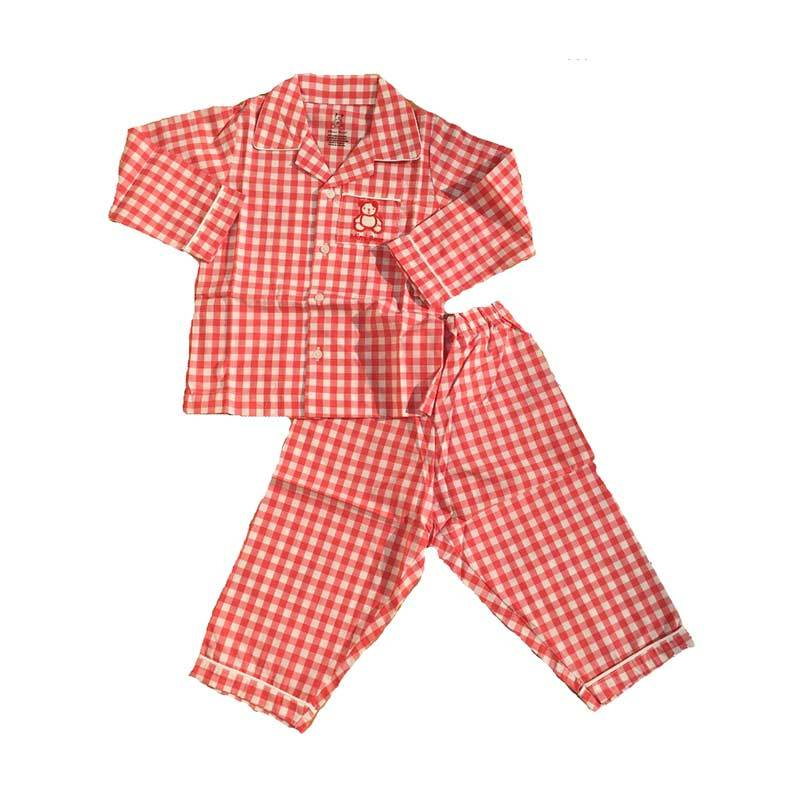 Melodybabynkids Square Long Sleeve Red Baju Tidur