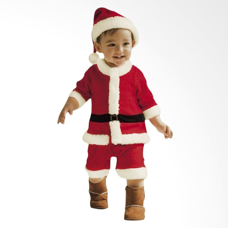 Melvieshop Santa Boy Kostum Setelan Anak