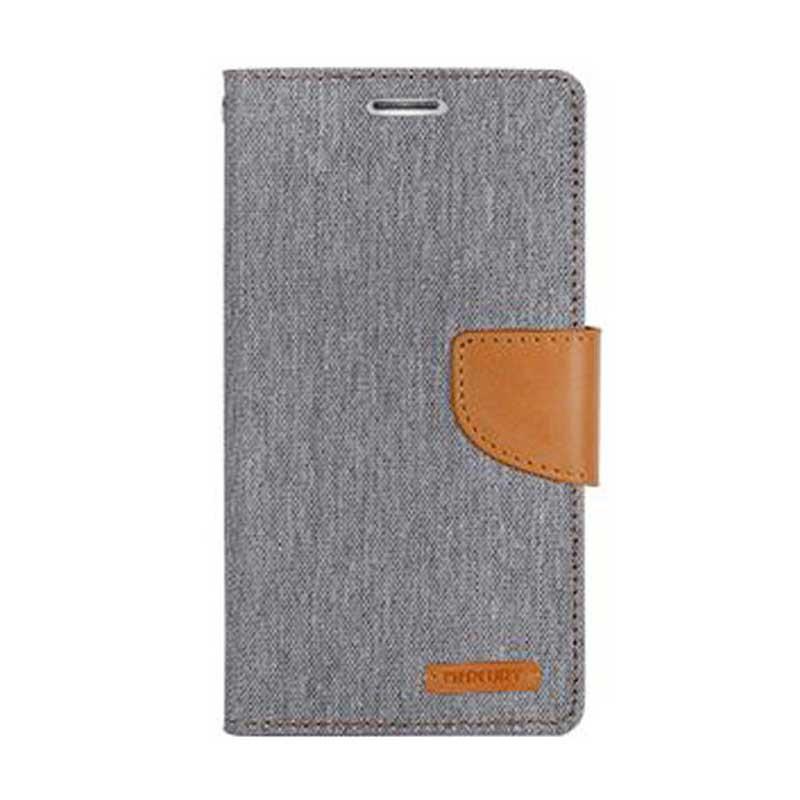 harga Mercury Canvas Diary Flip Cover Casing for Samsung Galaxy Note 4 - Abu-abu Blibli.com