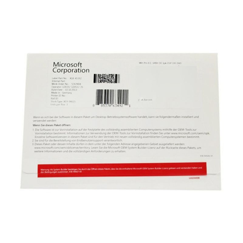 Microsoft Windows 8 Professional 64Bit Software