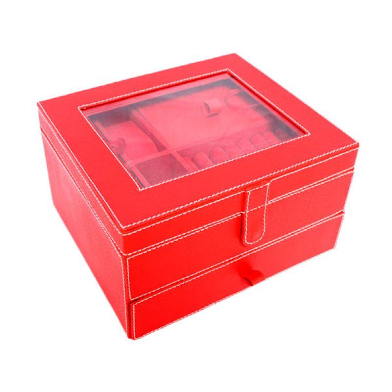 Grandby Kotak Perhiasan 3 in1 Susun Merah