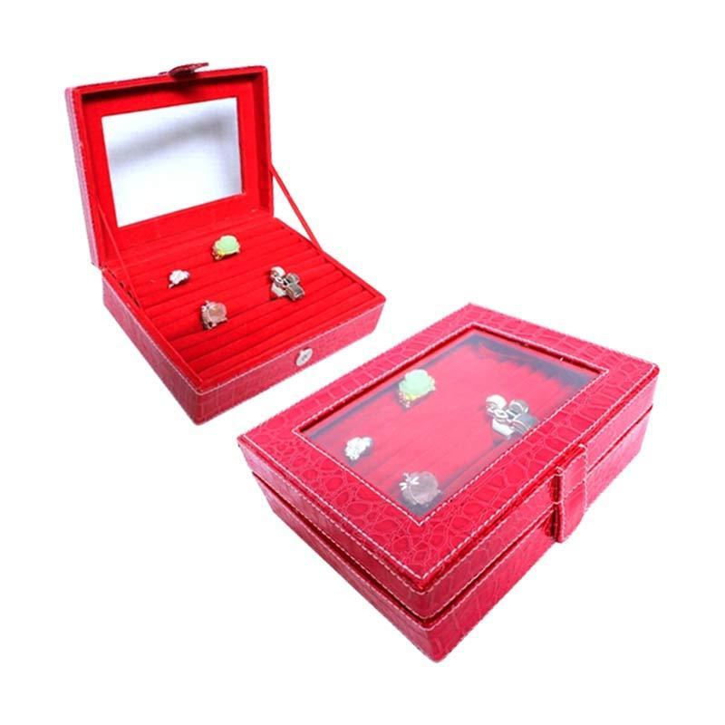 Grandby Kotak Cincin Croco Merah