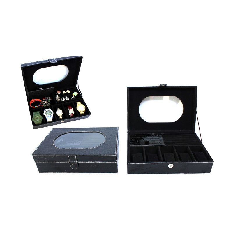 Grandby Watch Box and Jewelry Kaca Oval Hitam