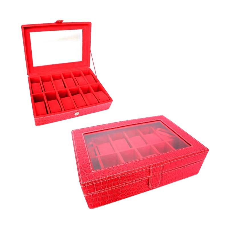 Grandby Watch Box Organizer 12 Croco Merah