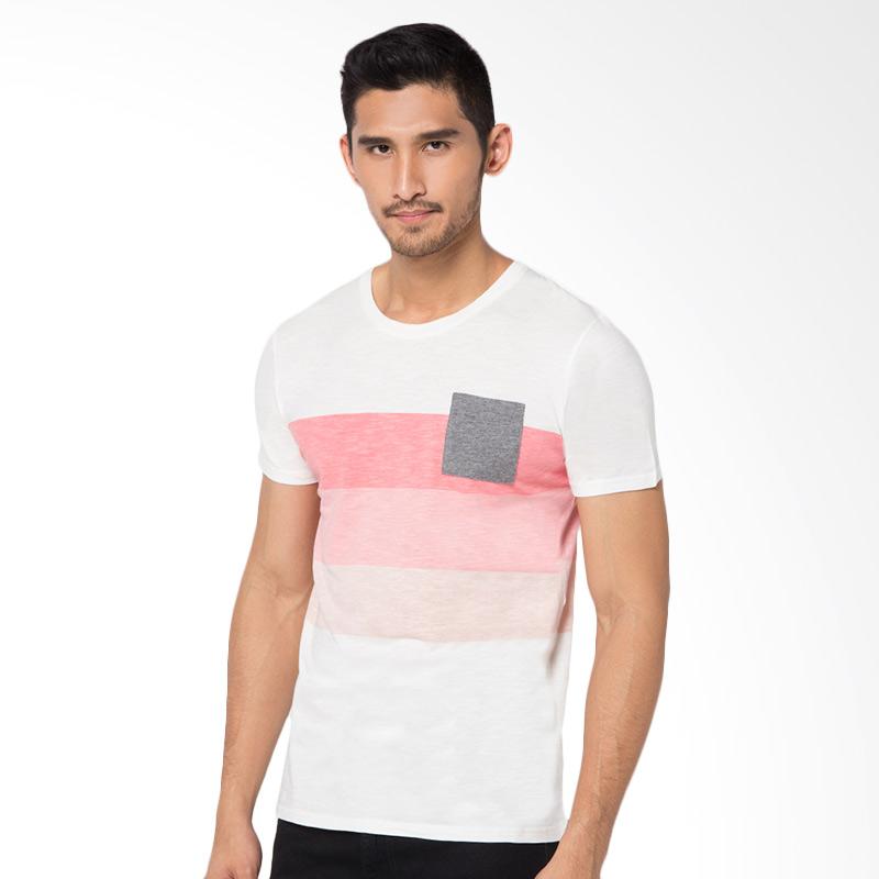 Minarno Striped Pocket 02 T-shirt - Pink Extra diskon 7% setiap hari Extra diskon 5% setiap hari