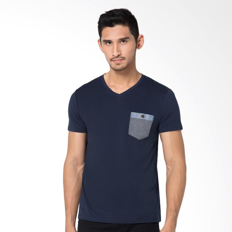 Minarno V Neck Pocket S-S Tee T-Shirt - Navy Extra diskon 7% setiap hari Extra diskon 5% setiap hari