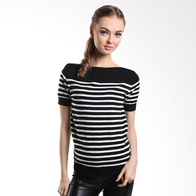 MINEOLA Stripe Black White Blouse 1-1508119f Black White Atasan Wanita