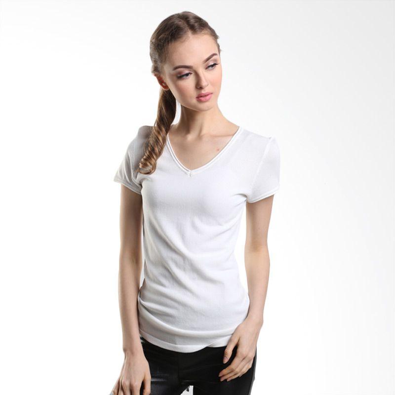 MINEOLA V Neck Basic Shirt 1-1508118f White Atasan Wanita