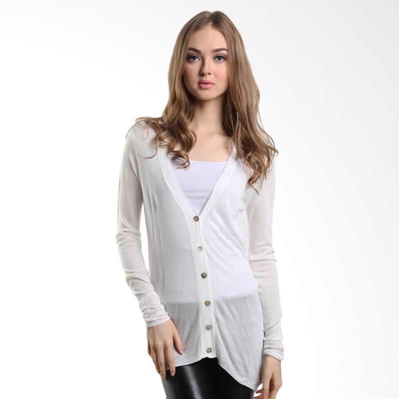 Mineola with Shell Button 1-1508116f White Cardigan