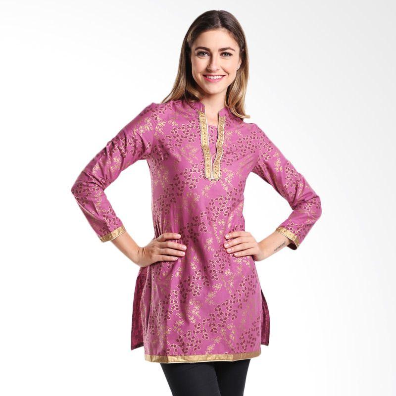 Mint Festive Ashika Printed Cotton Tunic MR15079108 Flower Purple Atasan Wanita
