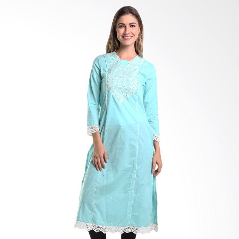 Mint Festive Taalia Solid Cotton MR15079604 Blue Dress Muslim
