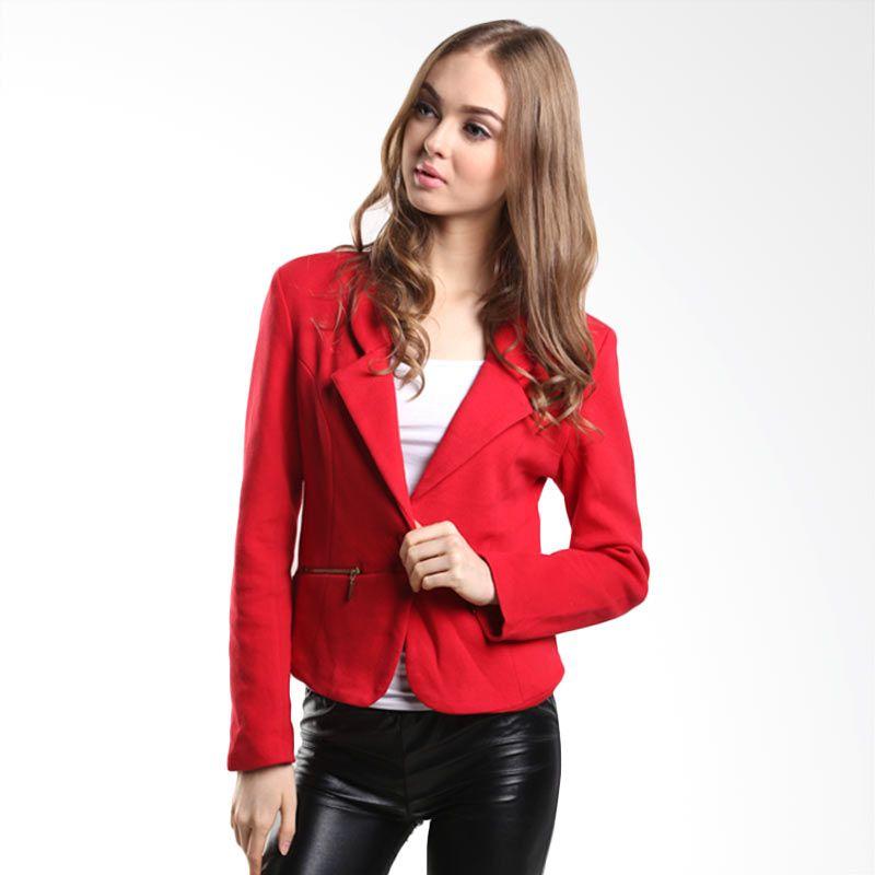 Mint Florenza Front Zip MR14090203 RED Jaket Wanita