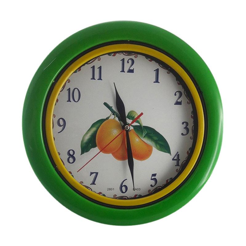 Miracle BA 03 Motif Buah Jeruk Ring - Green Jam Dinding [25 cm]