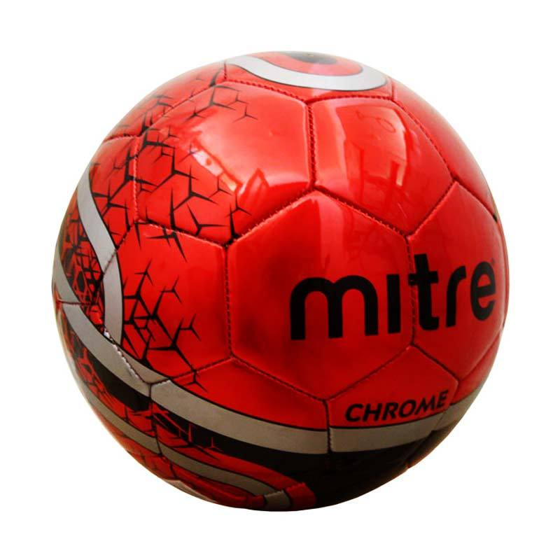 Mitre Soccer Ball Chrome 32P Size 5 Red