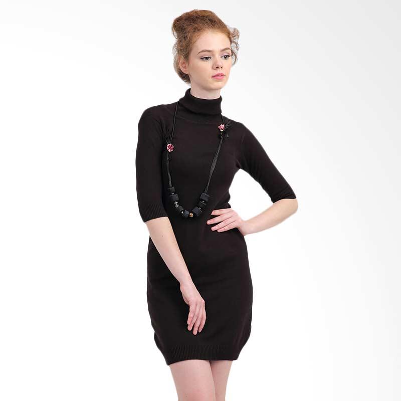 harga MKY Derrica Midsleeve Turtleneck Dress - Coffee Blibli.com