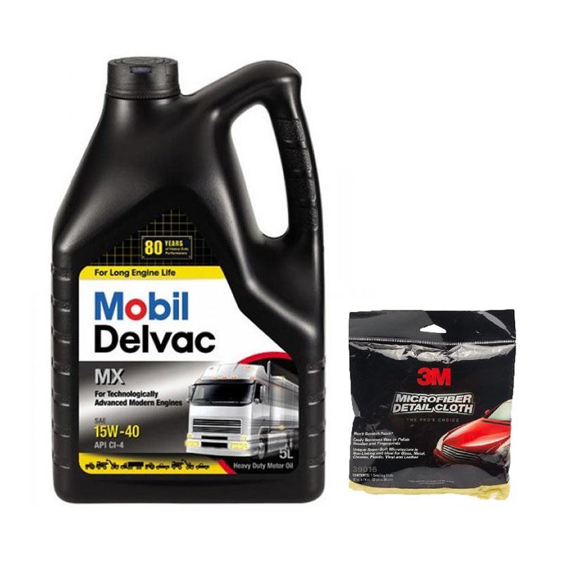 Promo Mobil Delvac MX SAE 15W40 [5 L] + Free 3M Microfibre Detailing Cloth