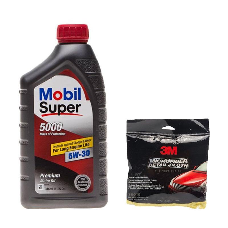 Buy 1 Get 1 - Mobil Super 5000 SAE 5W/30 Oli Pelumas 946 mL + 3M Microfibre Detailing Cloth