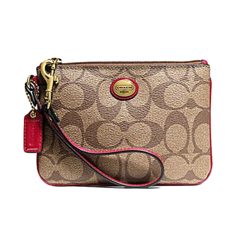 COACH F50142 Red Pouch Hand Wallet