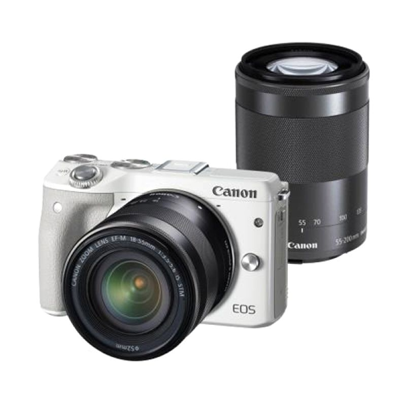 Canon EOS M3 with Lens 18-55mm + 55-200mm White Kamera DSLR