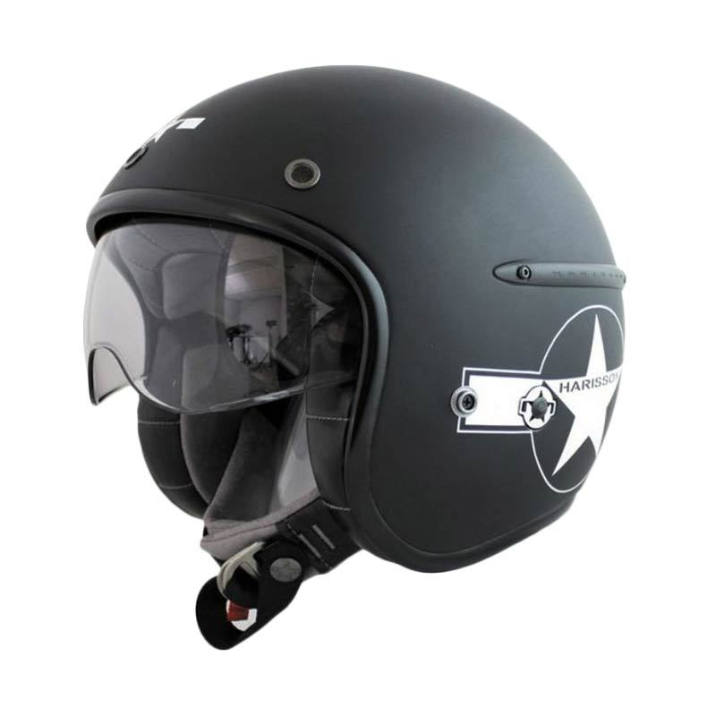 Corsair Harisson Noir Star Deco Blanc Mat Taille Helm Half Face