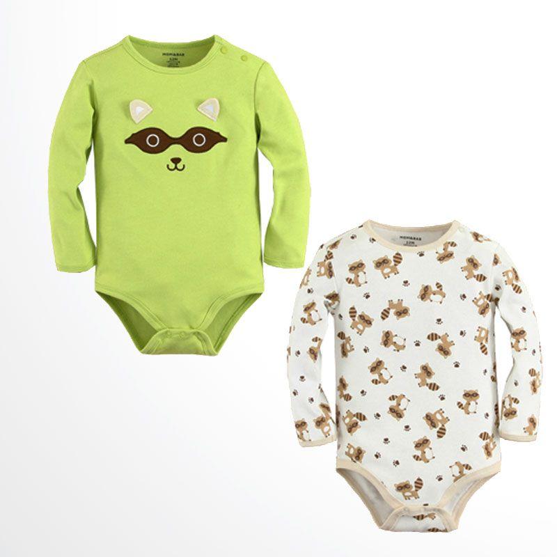 Mom N Bab Long Bodysuit Boy 2 in 1 Racoon Solid Green Cream Jumpsuit Bayi