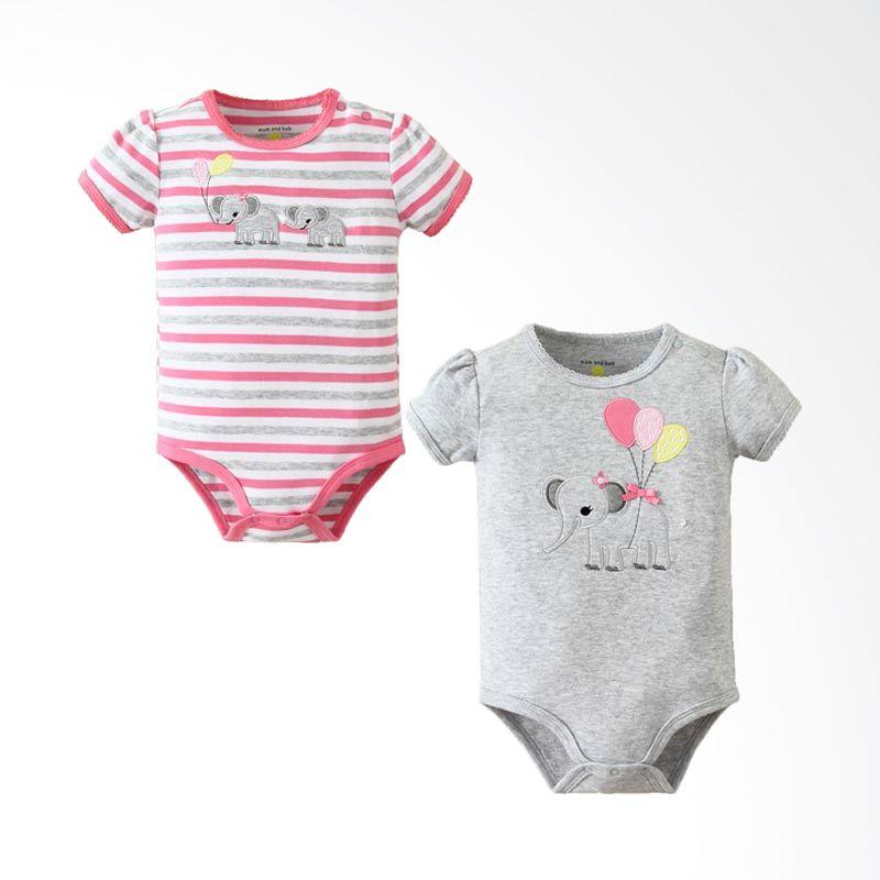 Mom n Bab Elephant Girl Stripe Short Bodysuit Baju Jumpsuit [2 In 1]