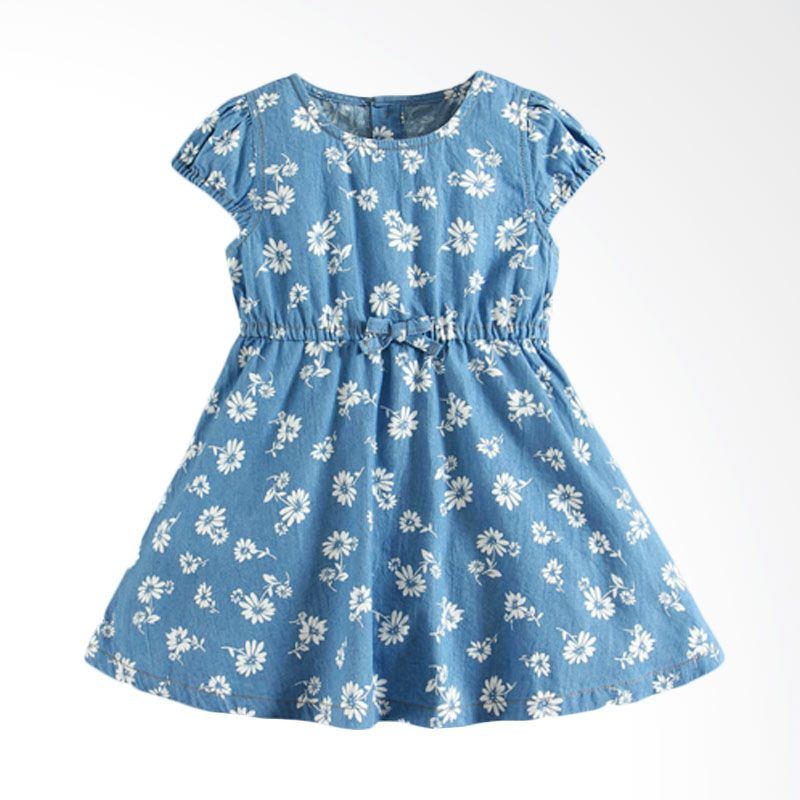 Mom N Bab Flower Jeans Blue Dress Anak