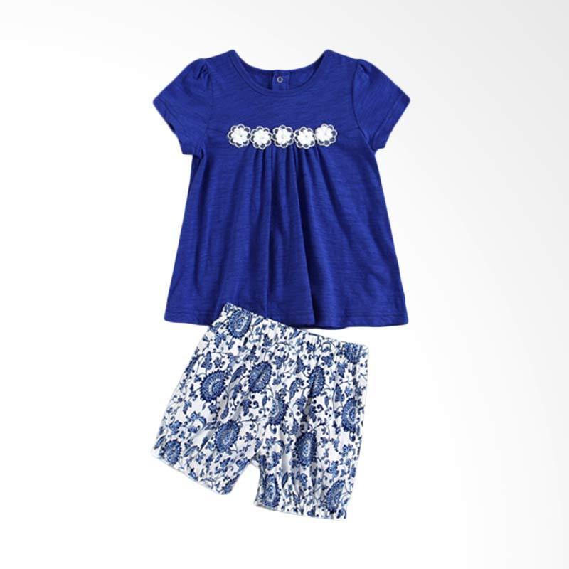 Mom N Bab Girl Flower Blue Setelan Anak Perempuan