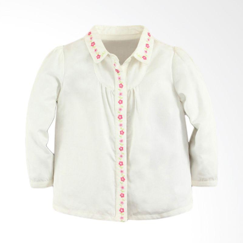 Mom N Bab Girl Shirt Solid White Atasan Anak Perempuan
