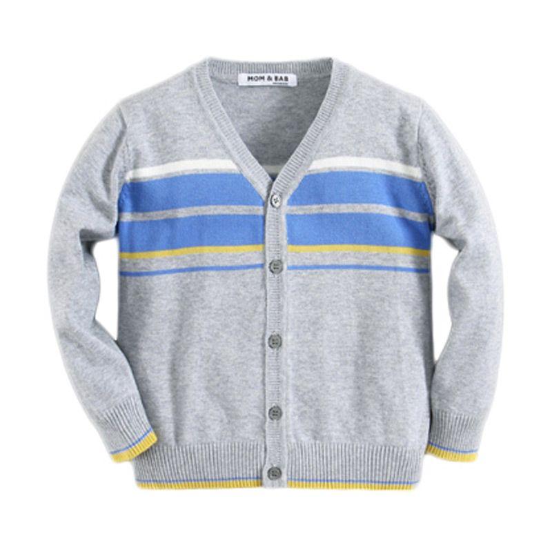 Mom N Bab Stripe Grey Blue Cardigan Anak Laki-Laki