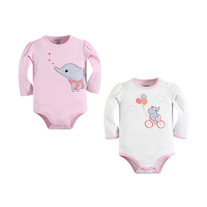 Mom N Bab Long Bodysuit Elephant Balloon Solid Jumpsuit Bayi [2 in 1]