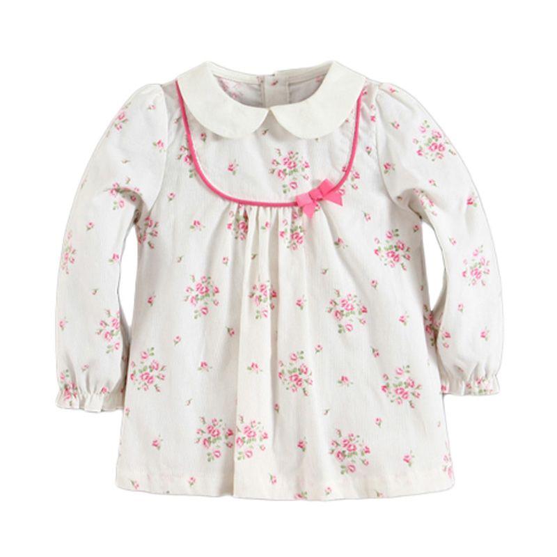 Mom N Bab Collar Corduroy Flower White Atasan Anak Perempuan