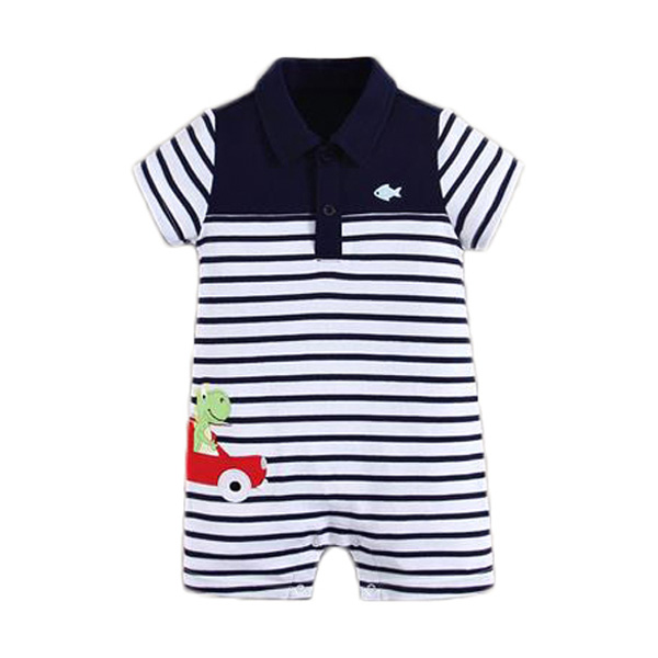 Mom n Bab Romper Stripe Dino Baju Bayi - Black