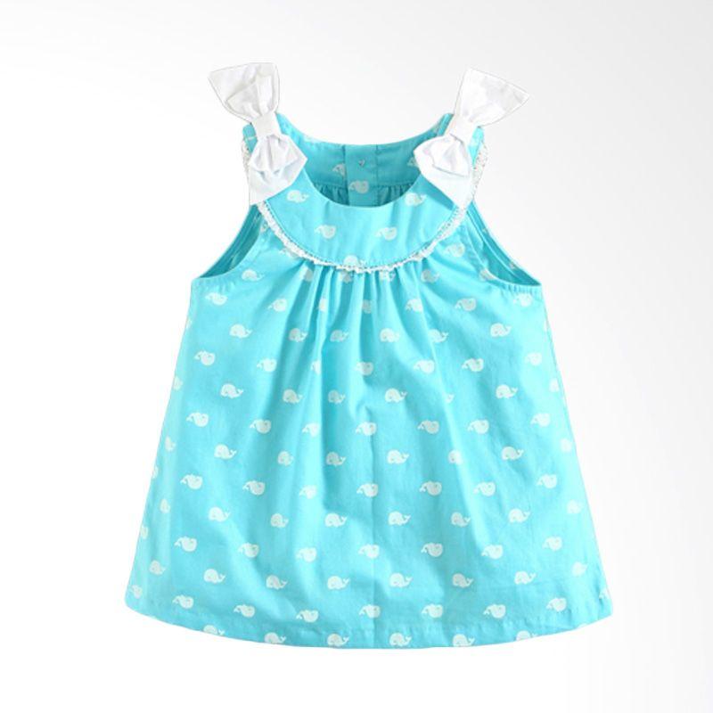 Mom N Bab Short Woven Vest Whale Blue Dress Anak Perempuan