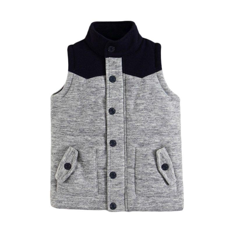 Mom N Bab Vest Fleece Grey Black Rompi Anak Laki-Laki
