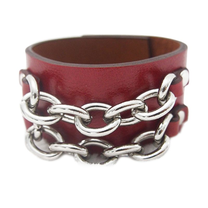Mooi Accessories Leather Metal 2 Chain Red Gelang