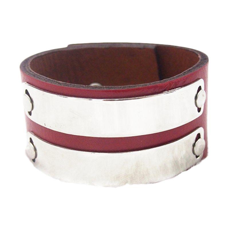 Mooi Accessories Leather Metal 2 Line Red Gelang