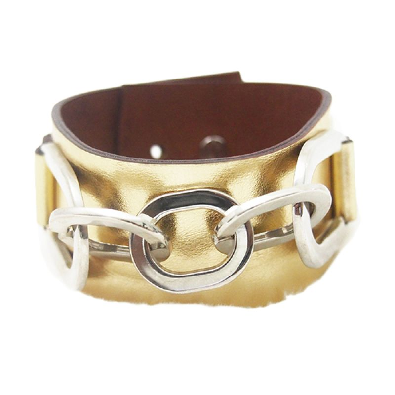 Mooi Accessories Leather One Chain Gold Gelang